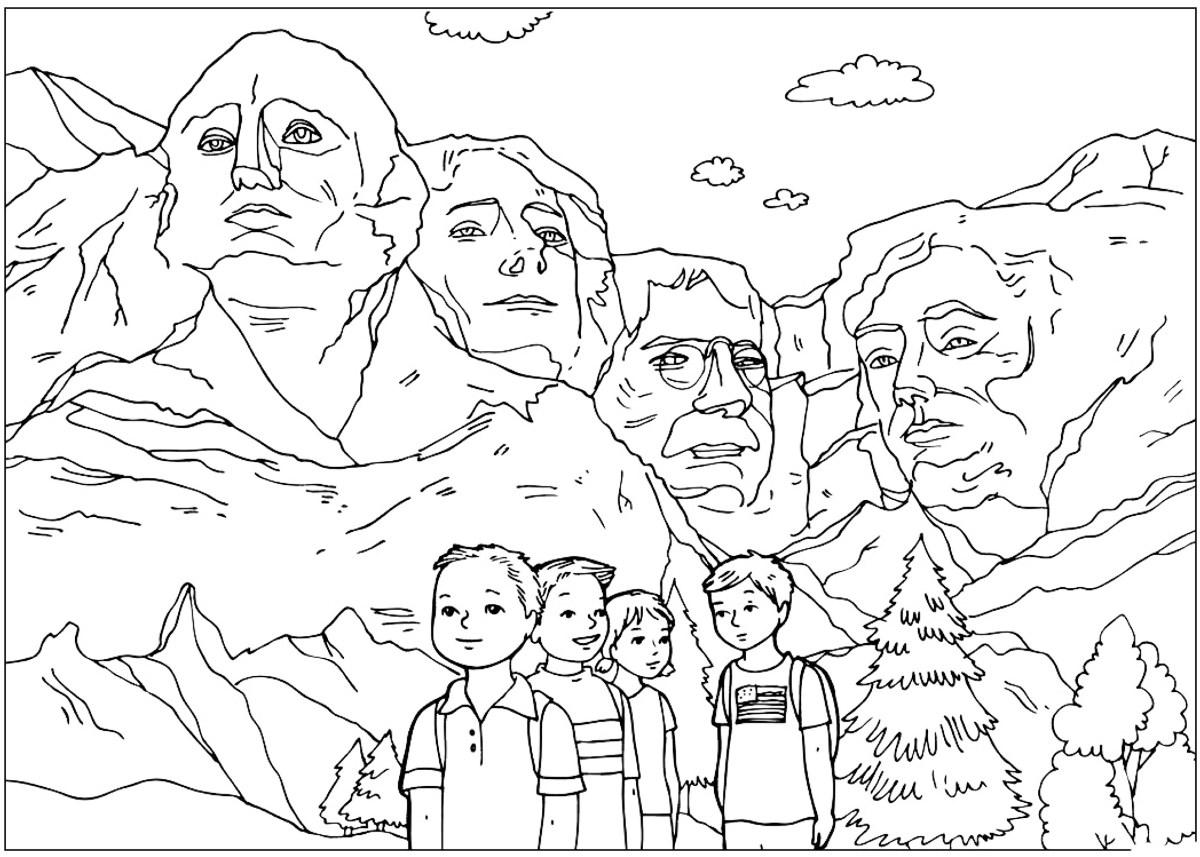 Malvorlagen - Die Skulpturen von Mount Rushmore