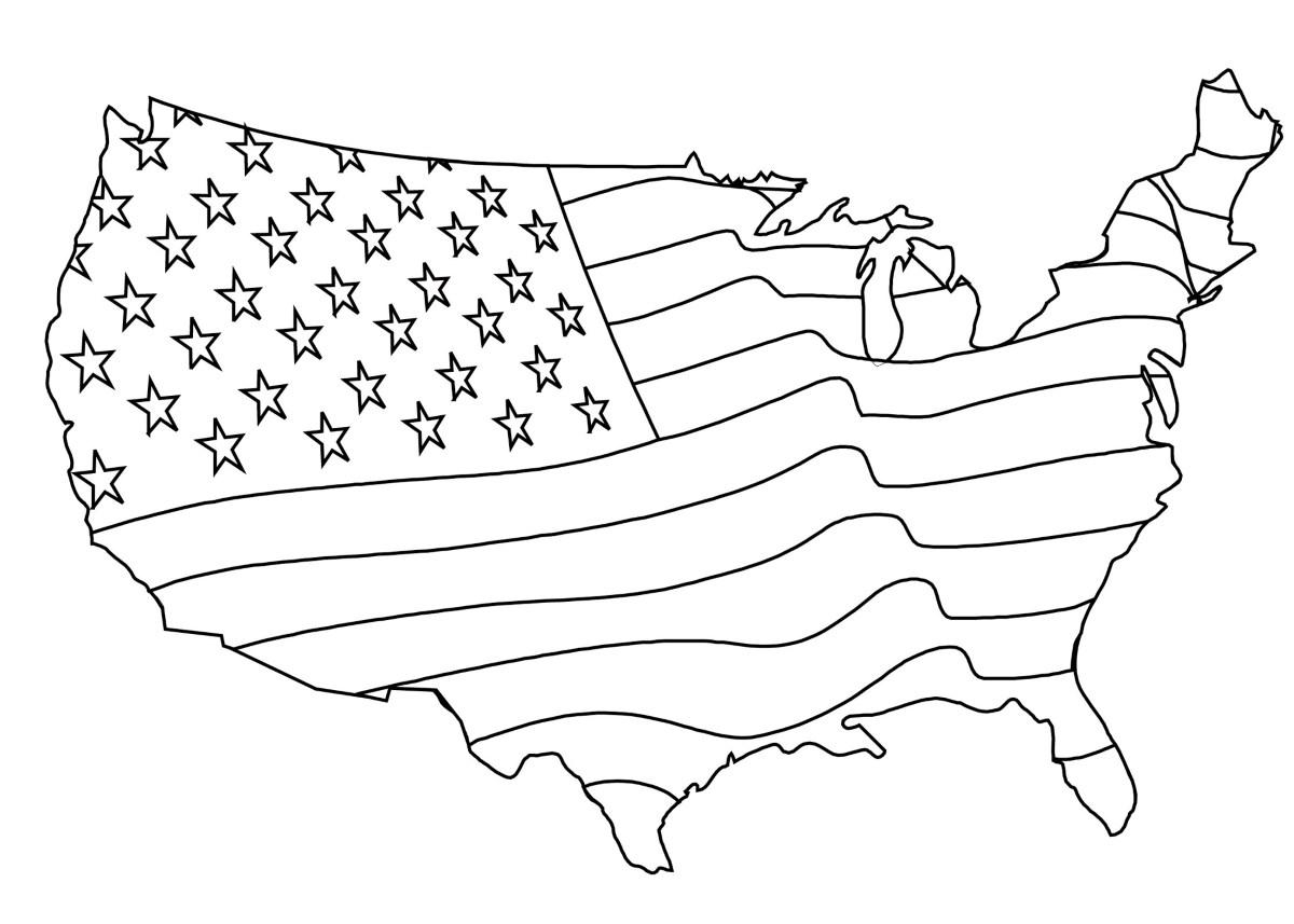 malvorlagen  amerikanische flagge karte