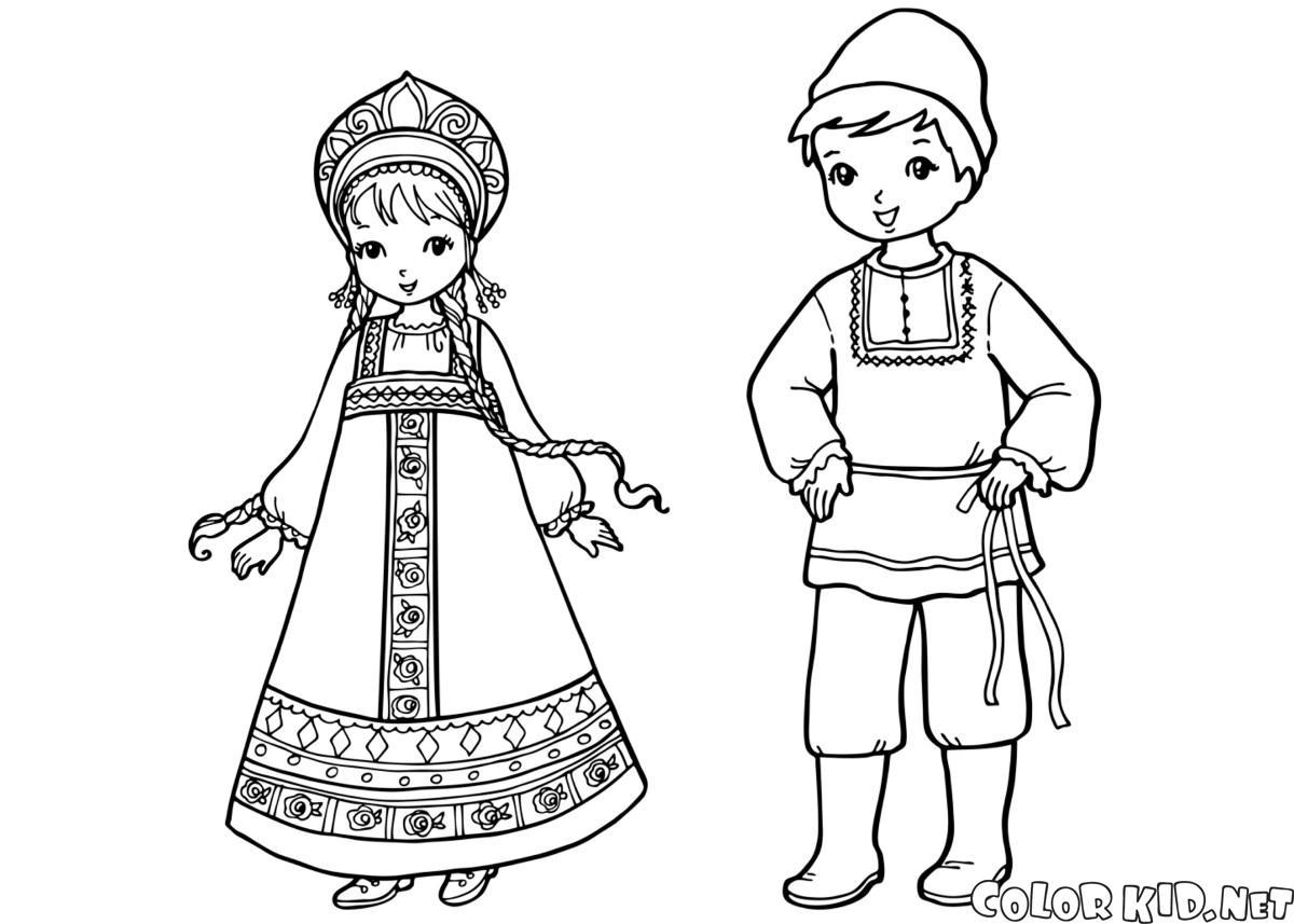 Malvorlagen - Russische Kinder