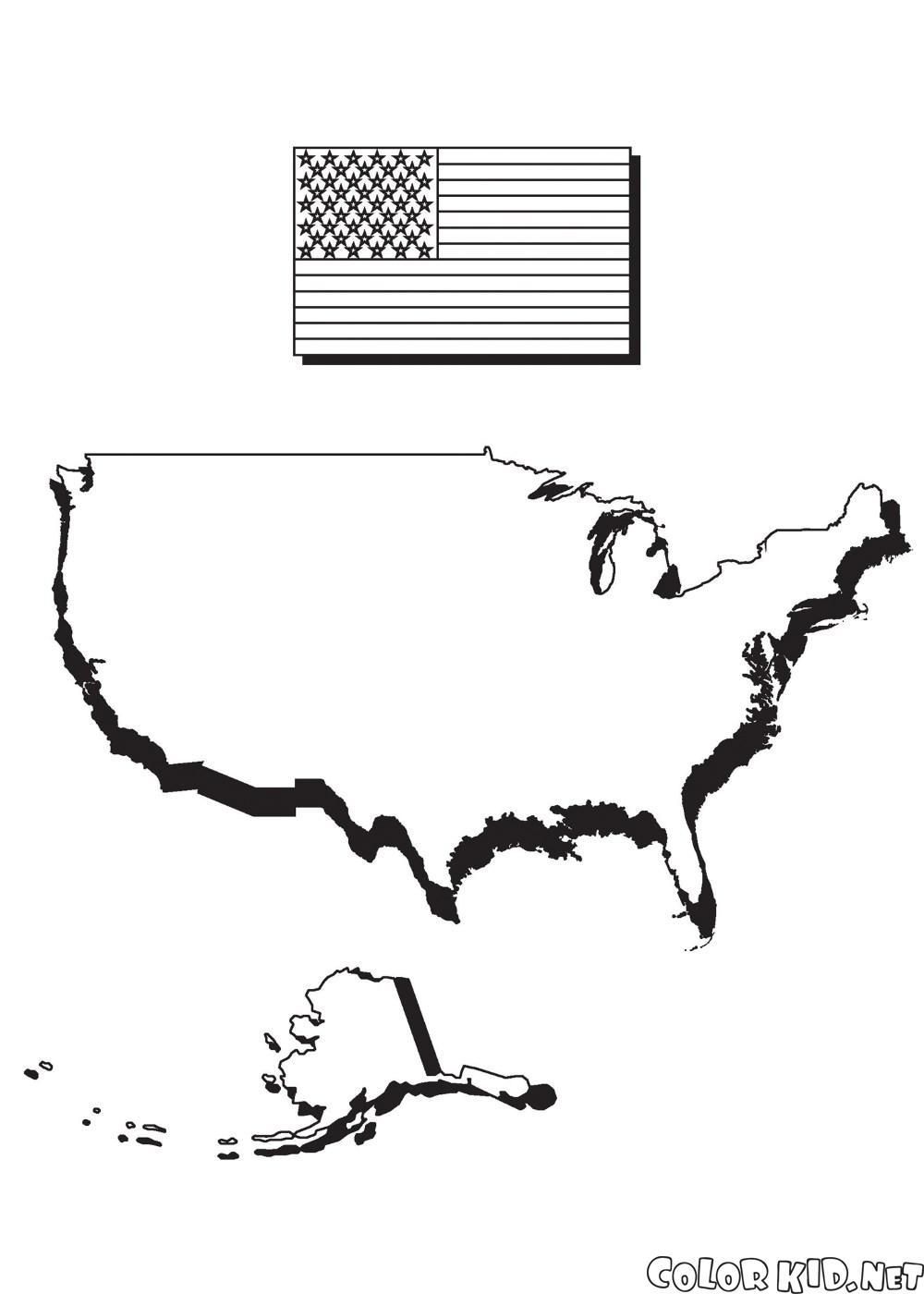 Karte von Amerika und Flagge