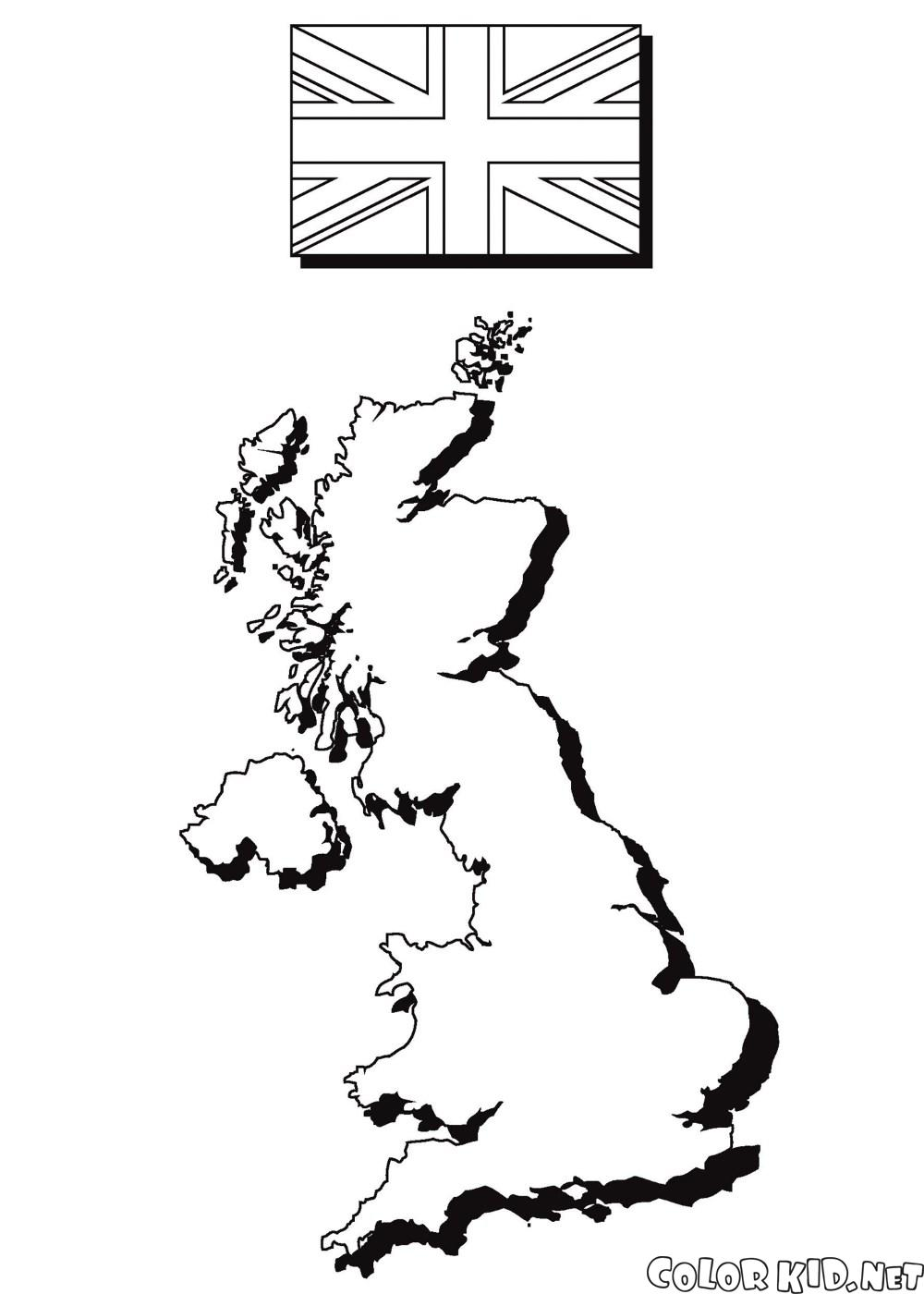 Die Karte und die Flagge von England