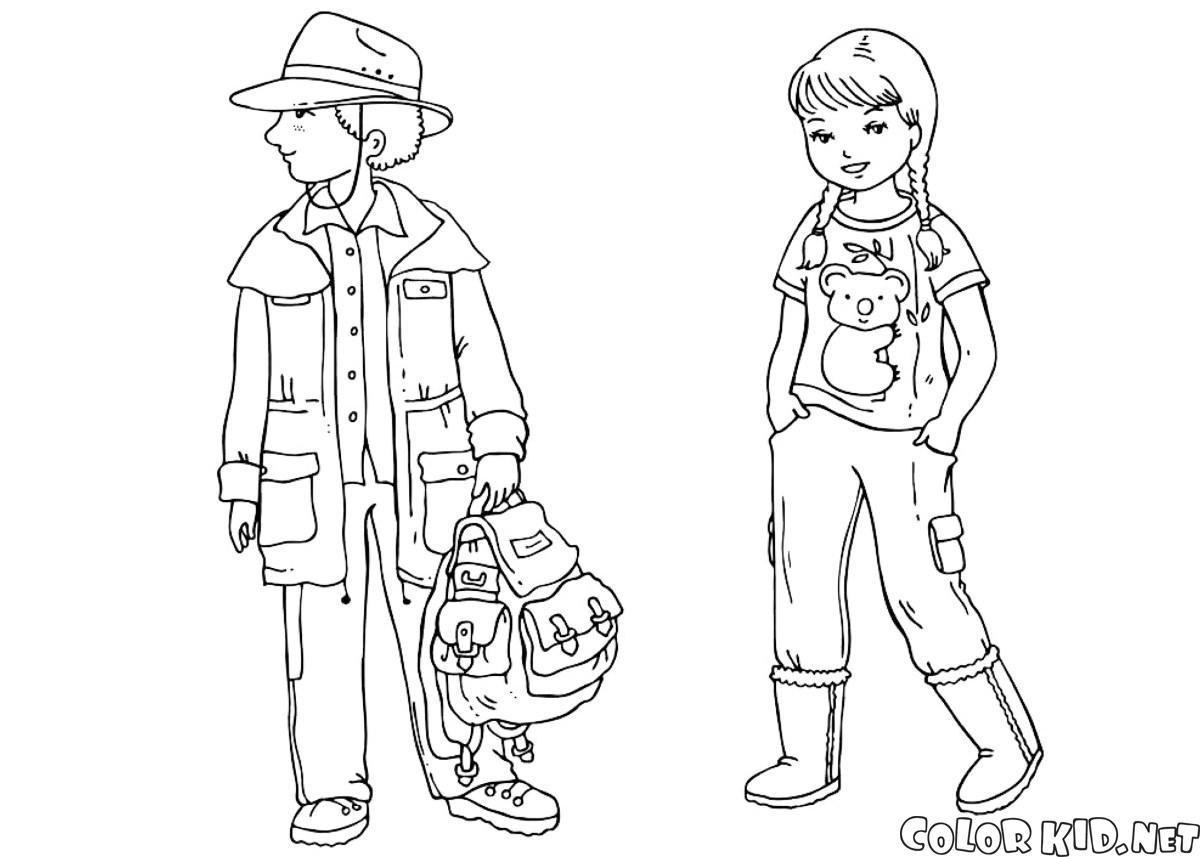 Malvorlagen - Kinder in traditioneller Kleidung